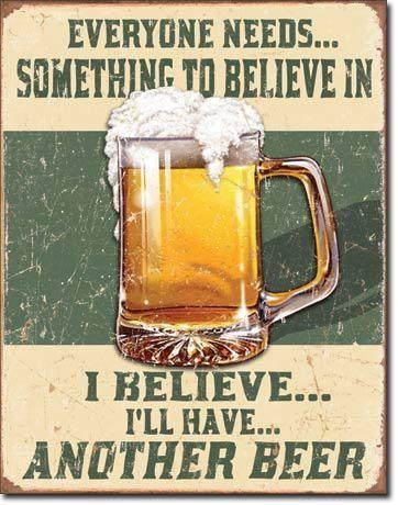 """Blechschild """"Believe in Beer"""""""