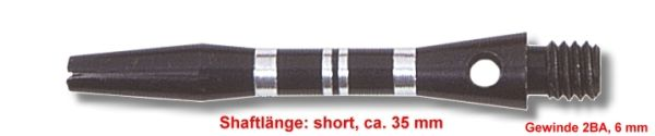 Shaft Alu Stripe short ,ca 35 mm, schwarz