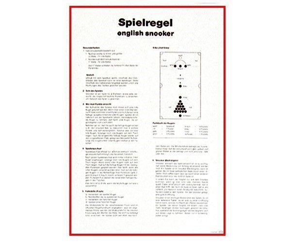 Spielregel - SNOOKER, Poster aus KArton mit AUfhängung