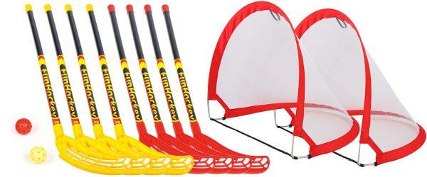 Funhockey Komplettset-groß mit 4x2er Set Schläger und Pop-up Tor MAXI-Set