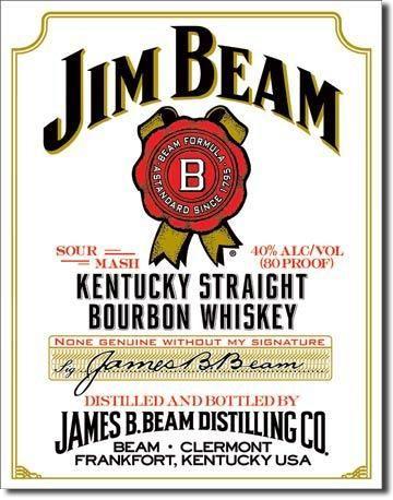 """Blechschild Jim Beam """"White Label"""""""