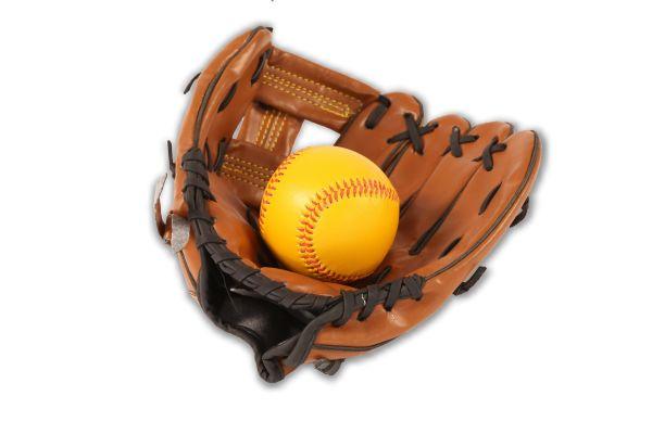 Baseballhandschuh inkl. Softball, dunkelbraunes Kunstleder