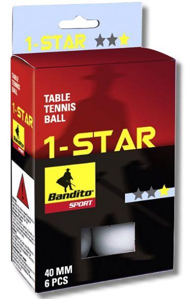 Tischtennis-Bälle Bandito *, 6 Stück, weiß