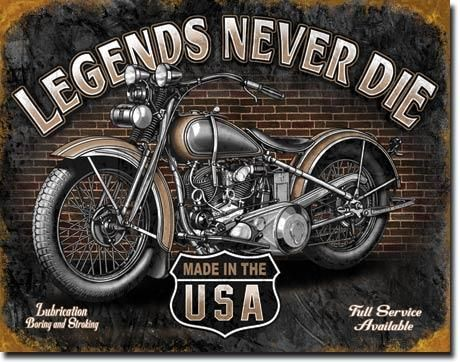 """Blechschild """"Legends Never Die"""""""