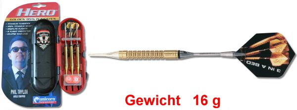 "Softdart Unicorn PHIL TAYLOR World Champion ""Golden Hero"" 16 gr"