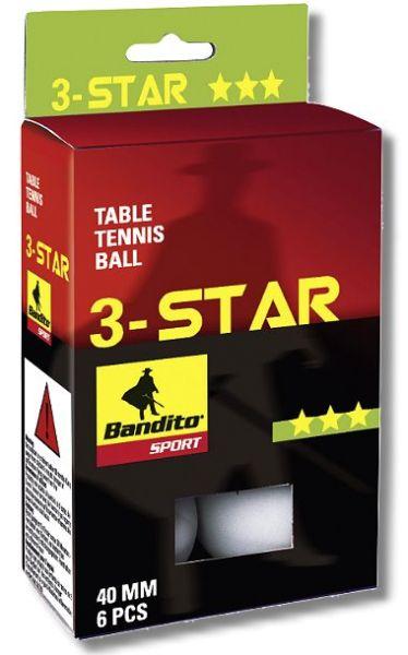 Tischtennis-Bälle Bandito*** , 6 Stück, weiß