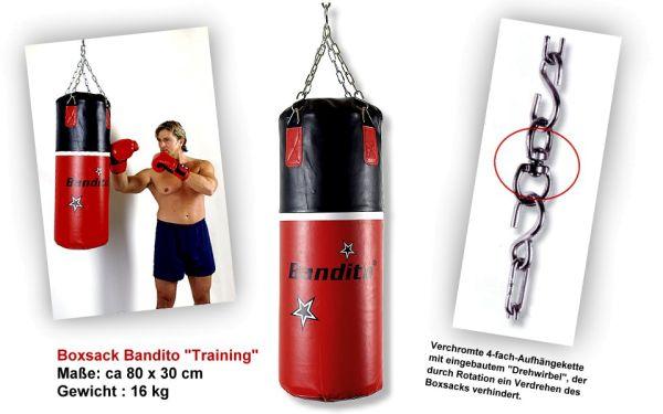 Boxsack Bandito TRAINING, hochwertige schwere Kunstlederausführung, ca. 80 x 30 cm, Gewicht ca. 16 k